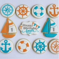 """Sweet Pea Cookie Co. on Instagram: """"Nothing quite like a #nautical set of cookies to get us in the sailing mood! ⚓️⛵️#firstbirthday #nauticalbirthday #sailboatcookies #nauticalcookies #shipsanchor #lifering #shipswheel #compass #sugarcookies #ahoy #bunting #tealandorange"""""""