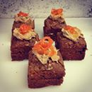Cute wee square carrot cakes are for Giles as well.