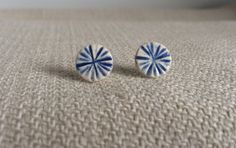 Blue and white Starburst Ceramic Stud by PeachBlossomStudio