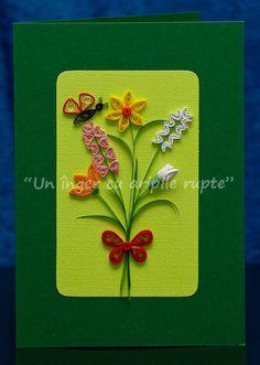 Flori primavara Paper Magic, Quilling Cards, Flower Cards, Paper Art, Brooch, Scrapbook, Quilts, Minis, Bbc