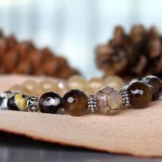 Agate crackle, citrine and sterling silver bracelet 😍