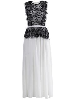 White Sleeveless Lace Contrast Chiffon Pleated Dress - Sheinside.com