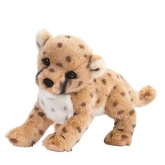 Chillin the Plush Cheetah Cub by Douglas at Stuffed Safari ($21) ❤ liked on Polyvore featuring stuffed animals and cute