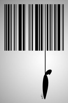 This picture depicts the problem of consumerism in modern society. The carrot attached to the barcode symbolises our constant need to consume at any expense.