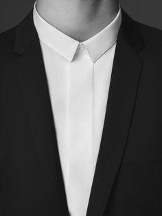 white shirt w short colar + black jacket = perfection