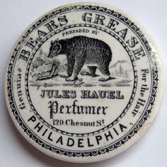 ABCR Auctions Jules Hauel Perfumer Philadelphia Bears Grease Pot Lid. Mid 1800s