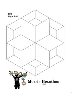 Morris Hexathon 22: Hyde Park by Becky Brown       Hyde Park has 3 templates: 2 diamonds and a tumbler shape     I named this week's ...