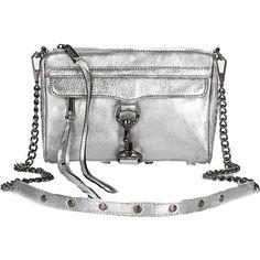 Rebecca Minkoff Mini Mac Clutch In Metallic Silver With Gunmetal... ($250) ❤ liked on Polyvore