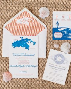 If the surf's up for your nuptials, get guests ready to dive into the celebration with a stationery suite embracing the location. These examples from coastal and tropical affairs we have featured over the years embrace the theme of sand, sun, and fun.