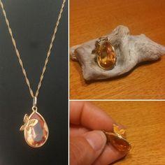 Quarzo citrino incastonato con farfallina in oro #gold #quartz #handmade