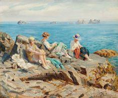 Jovens no penhasco, 1923 Rowland Wheelwright (GB, 1870-1955) óleo sobre tela, 50 x 60 cm