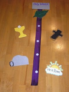 DIY Holy Week banner: palm for Palm Sunday, chalice for Holy Thursday, cross for Good Friday, tomb for Holy Saturday, and Risen! for Easter Sunday! What a neat way to count down to Easter Sunday!