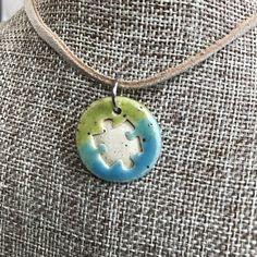 Set of 2 Ceramic Oval Puzzle Piece Pendant  | Autism Awareness Pottery Charm | Puzzle Piece Pendants | Stoneware DIY Jewelry | DIY Necklace