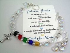 A Christian salvation bracelet with faceted Swarovski Crystals And Czech Bead Cubes With Lead Free Pewter Spacers. A lovely Card with comes with each bracelet with the meaning of the colored beads. This bracelet is just shy of 8 inches with a pewter toggle clasp and a pair of matching earrings. Earrings are 1-1/2 inches long from the top of the ear hook. A awesome gift idea for someone special in your life!  Check out My Etsy Page Below  For more beautiful jewelry come visit Jewel Fire…