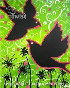 Coffee and Canvas - Black Birds - Syracuse, NY - Liverpool Painting Class - Painting with a Twist