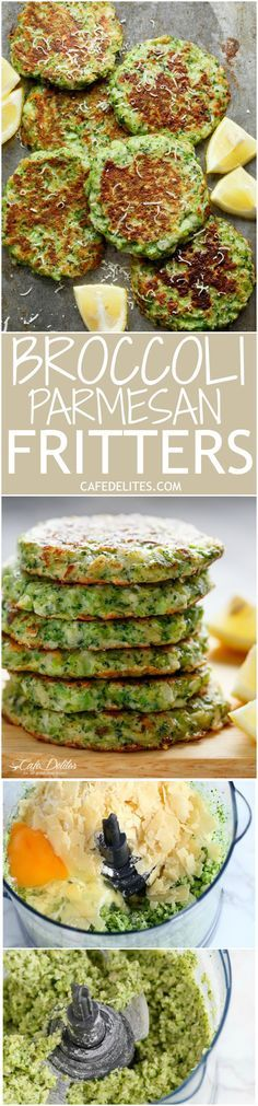 Crispy Broccoli Parmesan Fritters -Baked instead of fried - a great way to deliciously stash veggies for both children and adults! Healthy Recipes, Baby Food Recipes, Low Carb Recipes, Healthy Snacks, Vegetarian Recipes, Healthy Eating, Cooking Recipes, Ketogenic Recipes, Parmesan Broccoli