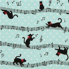 light blue Cosmo cat fabric with musical notes from Japan