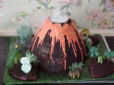 Kids Party Ideas: Dinosaur Birthday Party Volcano Cake, Decorations, Invites and more ideas Dinasour Birthday Cake, Luau Birthday Cakes, Dinosaur Birthday Party, Moana Birthday, First Birthday Party Supplies, 3rd Birthday Parties, Birthday Ideas, Third Birthday, Dino Cake