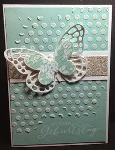 Stampin' Up! ... handmade card from **Kartenfreak´s Stempelblog** ... luv the layered butterfly with larger lacy die cut on bottom and smaller solid one with lace print on top ... great look of stenciling dots on background ... like it!