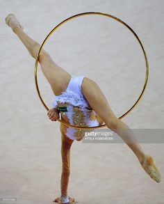 Bronze medalist Russia's Alexandra Soldatova performs her exercise with hoop at the individual final of the Rhythmic Gymnastics World Cup in Debrecen, Hungary on March 16, 2014.