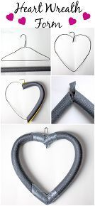 how to make a heart wreath form, crafts, seasonal holiday decor, valentines day ideas, wreaths, Bend the hanger into a heart shape cut the pipe insulator to fit the wire shape Cut a 45 degree angle out of the bottom to fit the pieces together Duct tape in place