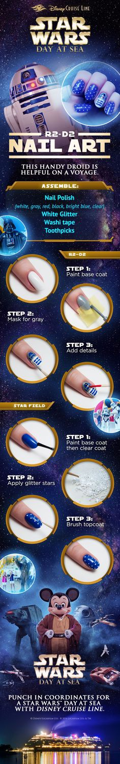 The Force is strong with this DIY manicure! Get your nails ready for a voyage on Star Wars Day at Sea with Disney Cruise Line. Click to learn more about these sailings!