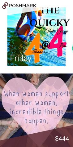 Friday 🦈The Quicky 🦈 Share Group 🥇Tag name🥈Sign-in ends/sharing beings @4pm.                             🥉 Share 4 items from each closet. 🖊 Sign Out.                                                                                          ☀️ Sharing earlier than 4 PM is allowed.                       🌙 Complete shares by MIDNIGHT your time. ⁉️ Questions/Comments use The Quicky Q&A post. 🛑 Please make sure your closet is POSH compliant‼️🚫 If it is not compliant, we can't share your…