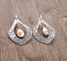 Mixed Metal Briolette TearDrop Earrings  with Pyrite Earrings, Hammered,  Sterling silver Ear Wires by ShillyShallyjewelry on Etsy