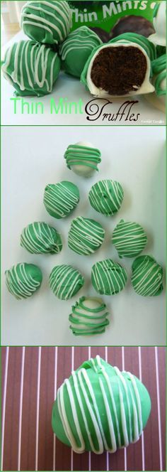 Thin Mint Truffles for Christmas. Only 4 ingredients, no baking required!