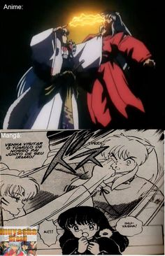 Anime vs. Manga~ InuYasha, Lord Sesshy removing the black pearl from his eye... ummmm ouch!! O.o
