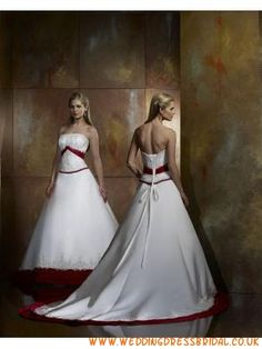 Princess Satin White And Red Wedding Dresses