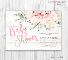 Rustic succulent baby shower invitation wood and succulent