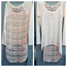 Free People Top Free people has done it again. This shirt is high low. Plain in the front. Crochet back is breath taking with little pieces of gold sequin. There is one flaw on this shirt. A little snag at the neck line but not noticeable. Free People Tops