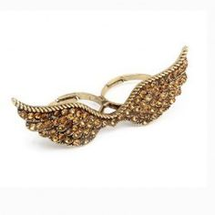 $3.33 Vintage Rhinestone Embellished Wing Shape Design Bicyclo Women's Ring