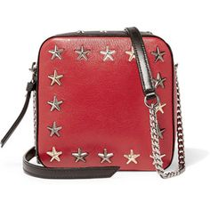 Jimmy Choo - Sunny Studded Leather Shoulder Bag - Jimmy Choo's 'Sunny' bag is… Shoulder Strap Bag, Crossbody Shoulder Bag, Shoulder Handbags, Leather Shoulder Bag, Purse Crossbody, Black Crossbody, Studded Purse, Studded Leather, Red Purses