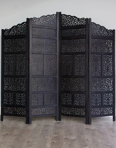 """80"""" x 72"""" Arabic Style Black Hand Carved Handmade Wooden Moroccan Screen Partition Room Divider 4 Panel"""