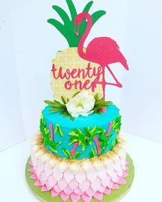 Lily Pulitzer Inspired cake. #flamingos #pineapple #palmtree #twentyone