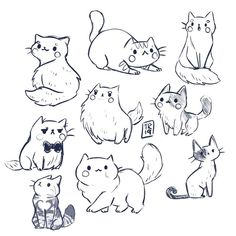 A lot of kitties sketches from yesterday😻❤️ I was really in a cat mood and what time is more perfect to post it then Thank you… Cute Cat Drawing, Cute Animal Drawings, Animal Sketches, Art Drawings Sketches, Cute Drawings, Kitty Drawing, Cat Cartoon Drawing, Cat Drawing Tutorial, Drawing Art