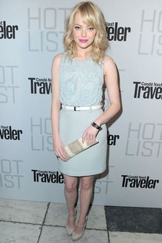 Emma Stone. I don't like her a s a blonde, but i love the color of her lipstick with the color of her outfit.