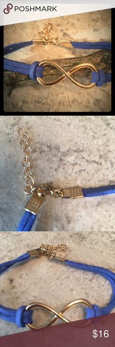 BLUE SUEDED LEATHER FEEL WITH INFINITY CHARM Blue strapped leather feel bracelet with gold tone infinity charm. Simple statement piece. Add to bundle. Jewelry Bracelets