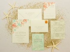 I love the use of coral and light turquoise in these invites!