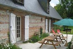 Location vacances maison St Aubin sur Scie: Terrasse 3 portes fenêtres