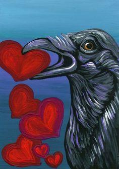 ACEO ATC-Crow Raven Valentine Bird Art Original-free shipping-Carla Smale #Miniature