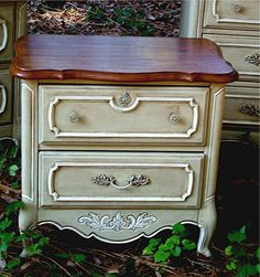 Nightstand or end table painted in AS's Country Grey Chalk Paint ~ by Stiltskin Studios