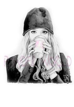 C'est l'Illustration à l'aquarelle de la Marie Fashion Girl C'est notre ligne…