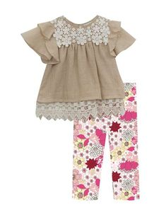 Rare Editions Girls Lace Ruffle Top Flowers and Leggings Set Peach Ivory