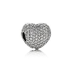 Heart pave silver clip with white cubic zirconia #PANDORAcharm