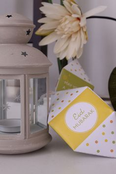 Free Printable DIY Mini Paper Lantern from the Confetti Collection. Lime green, yellow, orange color. DIY Template. Eid Mubarak. Happy Eid. Celebration. Party Package. Party printables.