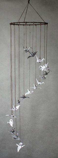 """Black White and Brown Cylinder-Shaped Mobile, Origami Cranes """"Up & Up!"""", Minimalistic, Oriental"""