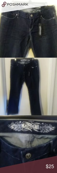 BARELY BOOT Super soft Dark jeans. Low rise Express Jeans Boot Cut